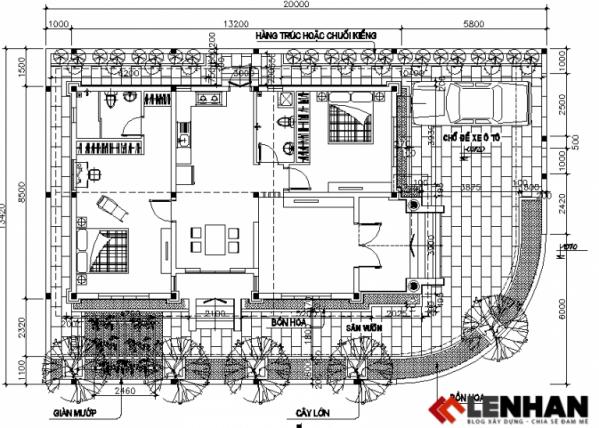 thiết kế nhà cấp 4 1 tầng hiện đại - h1
