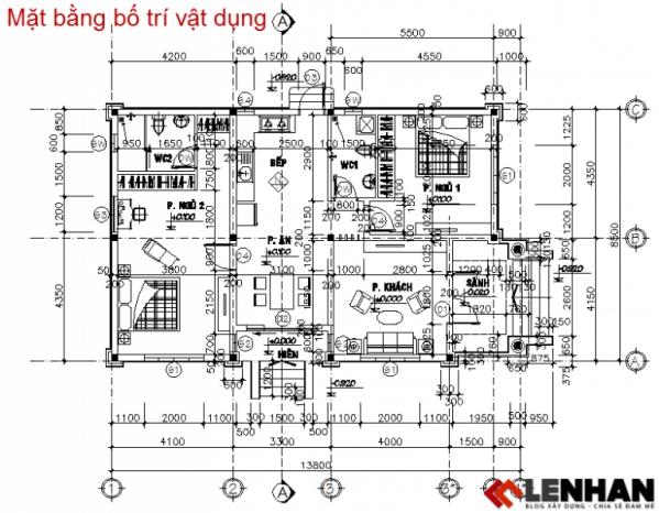 thiết kế nhà cấp 4 1 tầng hiện đại - h2